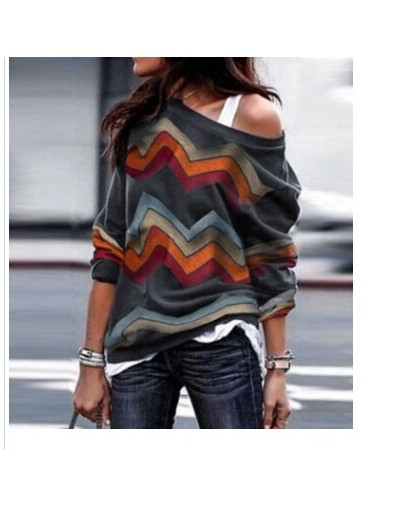Autumn Spring Lady Women Long Sleeve T-Shirt Tops Off Shoulder Tops Printed Loose Casual Shirts Clothing - Gray - 4D30770447...