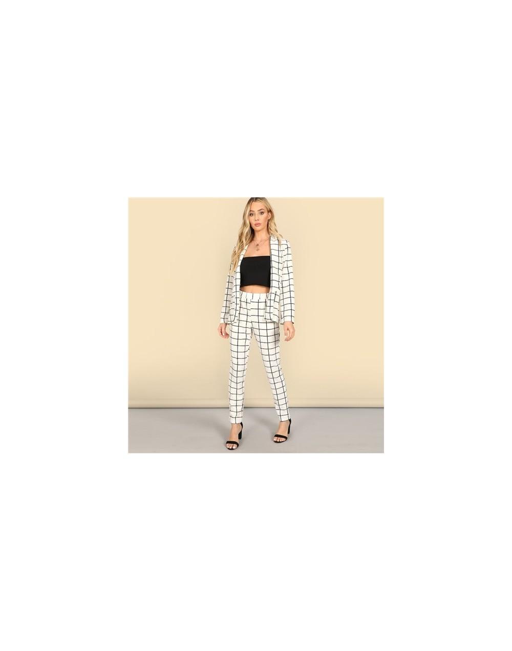 Fashion Shawl Collar Plaid Blazer And Tapered Pants Set Women Spring Elegant Workwear Plaid Blazer 2 Piece Set - White - 4A3...