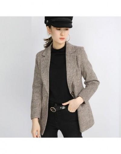 2019 One Button Long Sleeve Slim Plaid Blazer Women's Blazer Jacket Suits Casual - Brown - 5M111164551233-1