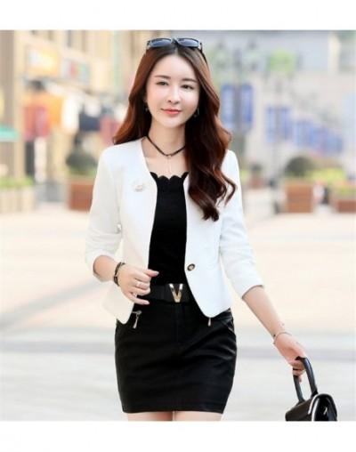 Spring And Autumn New Blazer Women 2019 Solid Color Fashion Slim Office Short Blazer Women Elegant Single Women Blazer Coat ...