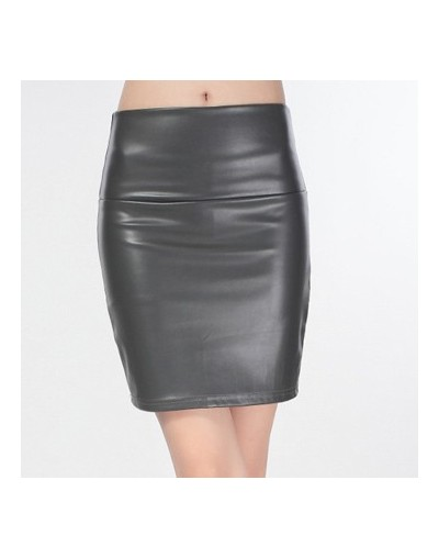 New 2019 summer women ladies faux pu leather candy color skirt high waist fleece warm sexy pencil mini Bodycon Stretchy Skir...