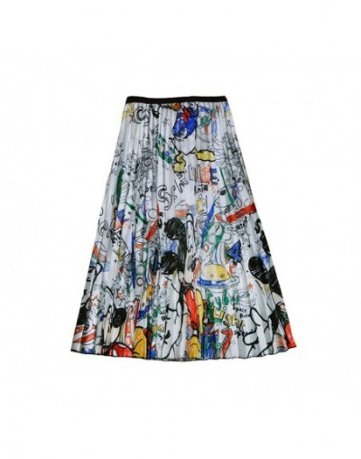 Women's Summer Cartoon Mouse Skirt Pleated Large Swing Girl Midi High Waist Elastic Female Pleated Skirts Falda SP9527 - Whi...