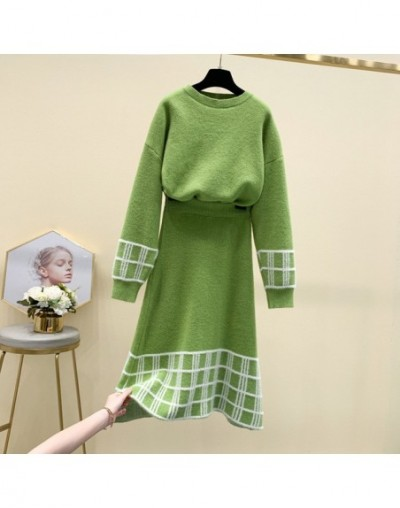 2019 New Autumn Women's Pullover Sweater + Mid-calf Knitted Skirt Two-piece Female Students Casual Skirt Sets - Green - 5R11...