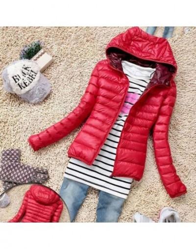 Winter Women Ultra Light Hooded Jacket Warm Zipper Coats Long Sleeve Parkas Female Solid Portable Outwear - Red - 4J30889469...