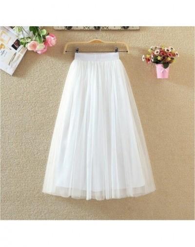 Long Tulle Skirts Womens 2019 Summer Elastic High Waist Mesh Tutu Pleated Skirt Female Black White Gray Maxi Skirt - White -...