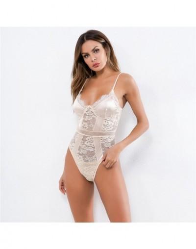 Satin Lace Patchwork Sexy Ladies Bodysuit Bodycon Strap Summer Body Top Hollow Out Mesh Romper Women Strap Bodysuit Top Femm...