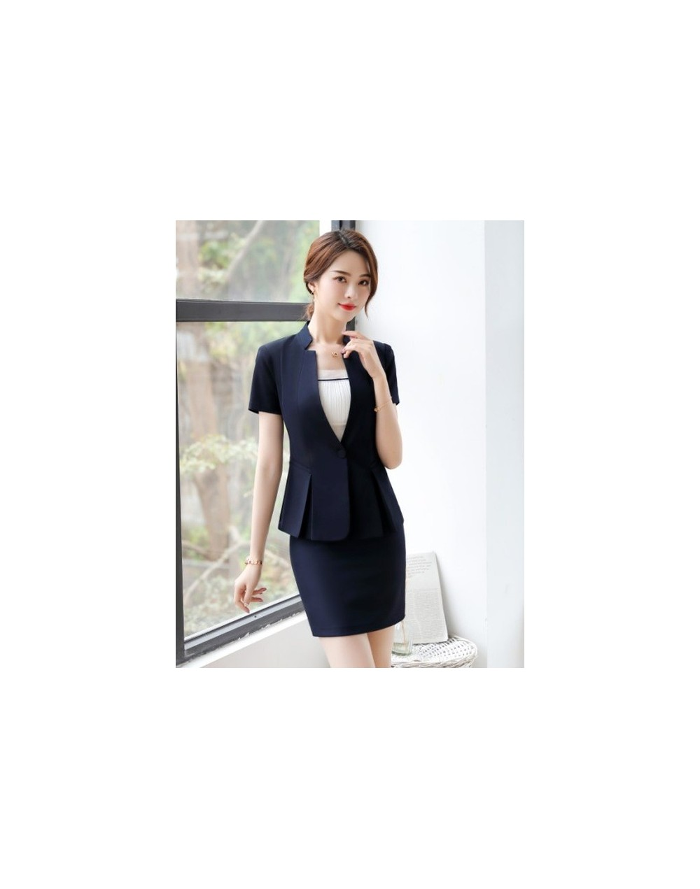 Fashion business women pnats suits set OL formal V Neck short sleeve blazer and pants office ladies interview work wear - Na...