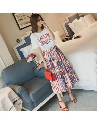 Two Piece Set Women spring wear Sets Casual 2 Piece Set Women 2019 Slim T shirt Mid-Calf Skirt - Pink - 4I3904506109