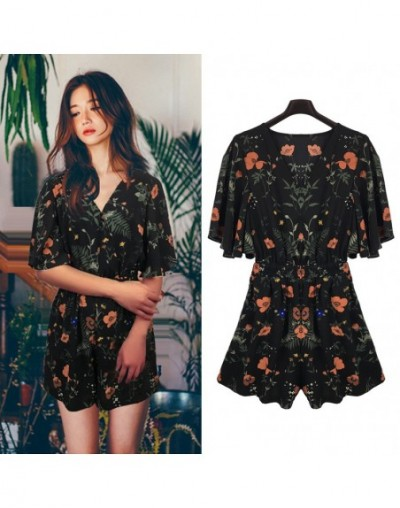Floral Print Chiffon Playsuit Women Summer Hot Sale 2018 Fashion Sexy Female Rompers Jumpsuit Beach Party Overalls Plus Size...