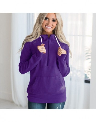 Hoodies Sweatshirts 2019 Fashion Autumn Winter Zipper Up Long Sleeve Hooded Hoodies Casual Loose Solid Cotton Top Pullover 3...