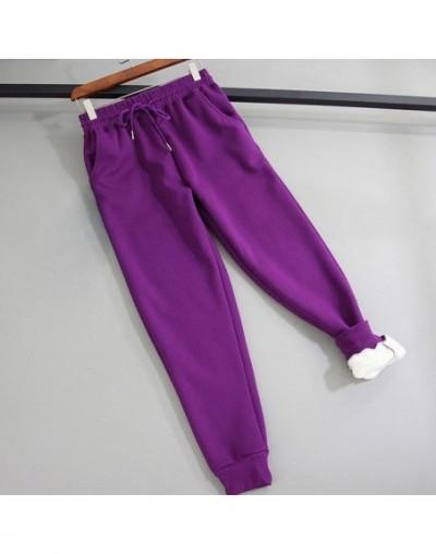 Winter Women cotton thickening Imitation lamb hair Warm sweatpants Casual gray Comfy Sweatpants Leisure Trousers black pants...