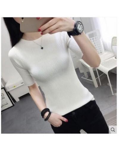 new 2017 half sleeve cotton Crewneck sweater female sleeve head sleeve shirt five solid tight sweater thin repair - white - ...