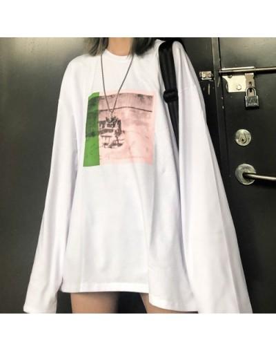 Autumn Women Funny Graphic Print Long Sleeve Pullover TShirt Tee T-Shirt Top Harajuku Streetwear Korean Loose Casual Black W...