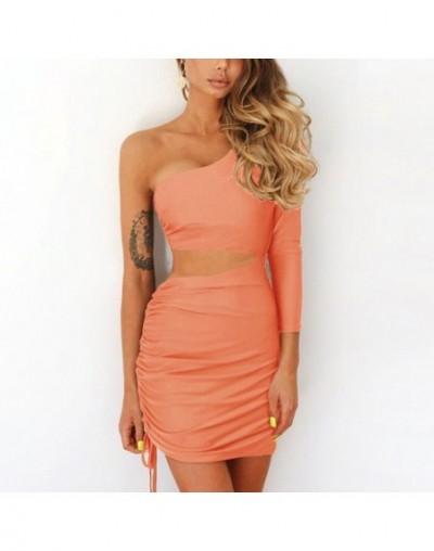 Fashion Fall One Shoulder Dress Women 2018 Sexy Ruched Waist Hollow Out Dresses Long Sleeve Vestido De Festa Longo - Orange ...
