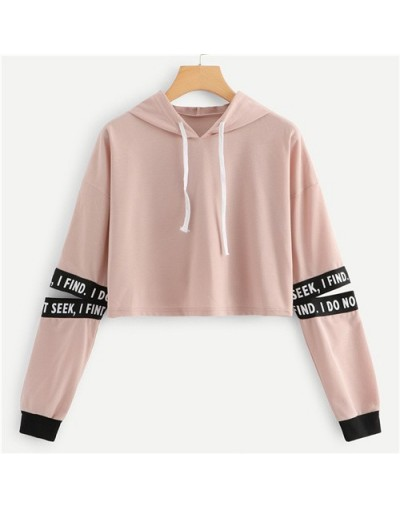 Pink Letter Drawstring Hoodie Cut Out Sleeve Crop Sweatshirt Women Casual Autumn Clothing Hooded Long Sleeve Pullover - Pink...