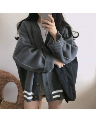 Preppy Style Stripe Sweater Cardigan Women Clothes Autumn Winter Korean Oversized Knit Coat Single Breasted Jacket 37569 - d...