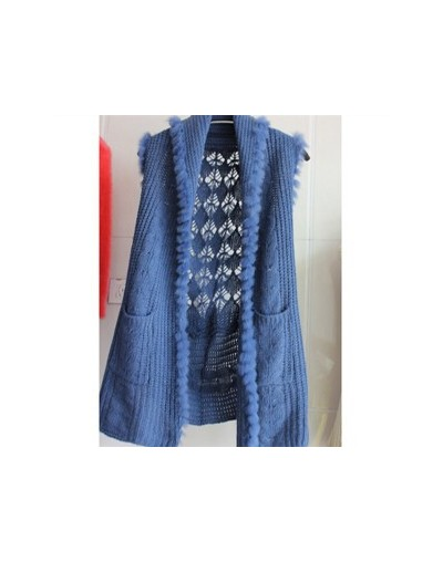 2017 Spring & Autumn Vest Rabbit Fur Shawl Women Sleeveless Knitted Sweater Hollow Out Casual Cardigan - Blue - 4T3359915241-3