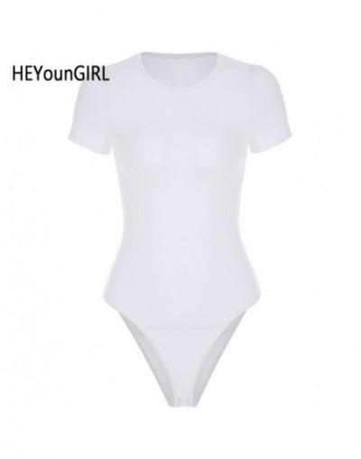 Casual Basic Black White Bodysuit Women Summer Short Sleeve Woman Body Top Cotton Bodycon Jumpsuit Romper Ladies 2019 - Whit...