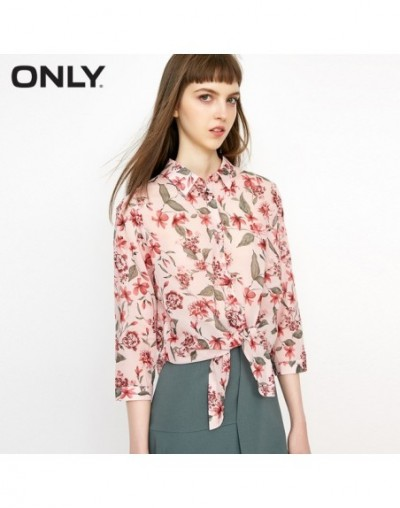 Women's 100% Cotton Lace-up 3/4 Sleeves Shirt 118231528 - FLORAL CARNATIONS - 4X3003449102-4