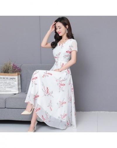 Summer Dress 2019 New Women Short Sleeve White Floral Print Long Chiffon Dresses Big Swing Womens Clothing S-XXXL - White - ...