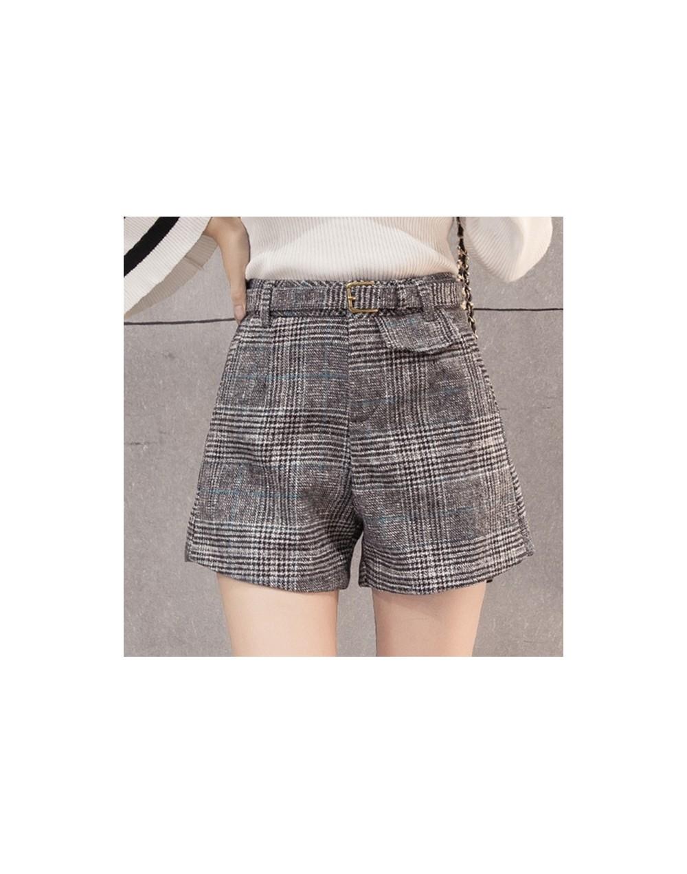 Woolen plaid shorts women autumn winter outerwear wide leg high waist short mujer office work wear ladies shorts woman short...
