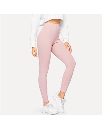 High Waist Ribbed Knit Solid Leggings Active Wear Pink Leggings 2019 Summer Women Athleisure Basics Leggings - Pink - 4I3003...