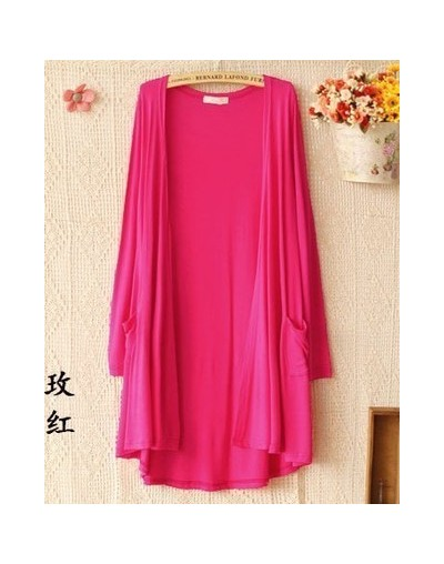 Spring Autumn Summer Women Cardigan Thin Modal Candy color Long Outerwear Sunscreen air conditioning coat QW - Rose - 4V3924...