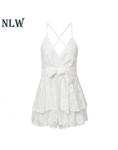 White Lace Feminino Women Playsuits Rompers Party Bow Spaghetti Strap Rompers Casual Short Jumpsuits Rompers - White - 32954...