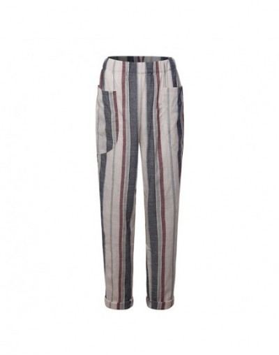 New Arrival Thin Lady Cotton Casual Loose Long Pants Trousers Women Retro Striped High Waist Harem Pants Casual Baggy Plus S...