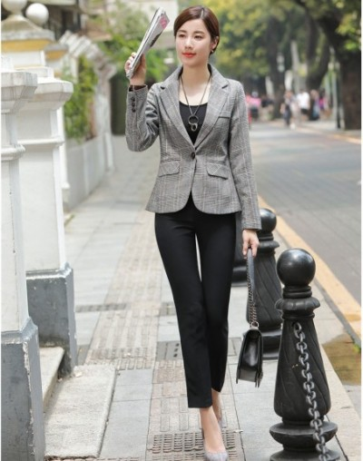 Fashion Women Business Suits with Pant and Jacket Set Formal Office Ladies Half Sleeve Grey Blazer OL Styles - 4G3040911822