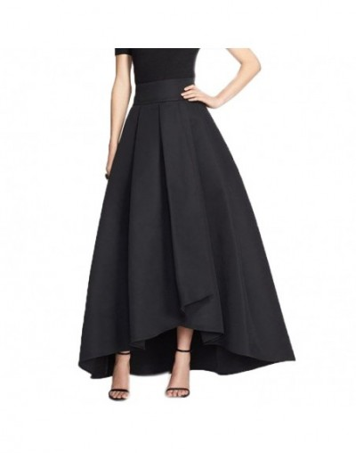 2016 England High Low Long Skirts For Women Navy Blue Old Green Black Long Skirt Women Clothing Pleat Maxi Skirt - Green - 4...