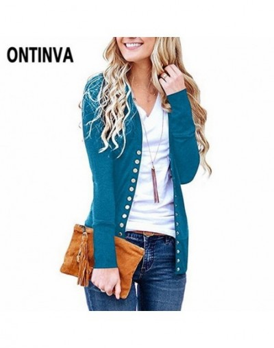 2019 Autumn Winter Knitwear Cardigans with V Neck Collar Buttons White Color New Year Clothes Sweater for Women Long Sleeve ...