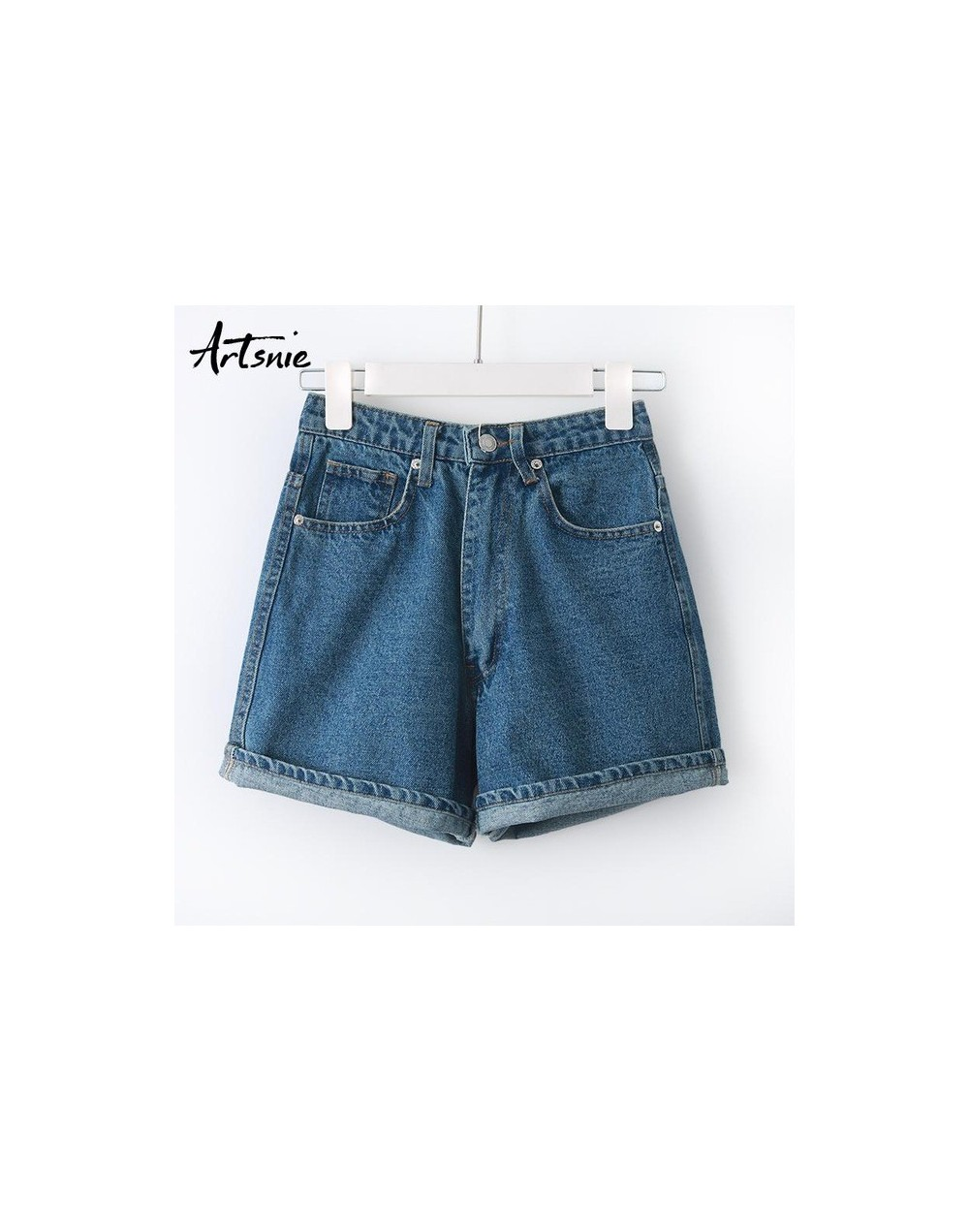 streetwear casual blue denim women shorts summer 2019 high waist zipper boyfriend jeans girls shorts mujer feminino - Blue -...