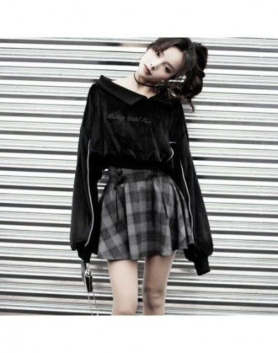 Women's Sets Gothic Letter Embroidery Velvet Sweatshirt High Waist Lace-up Plaid Mini Skirt Punk Girl's Skirt And Pullovers ...