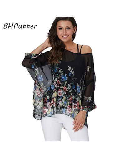 4XL 5XL 6XL Plus Size 2019 Blouse Women Chic Floral Print Chiffon Blouses Shirts Sexy Off Shoulder Summer Tops Tunic - pictu...