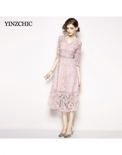 Fashion Womans Lace Dresses V-neck Half Flare Sleeve Summer Mid Dress for Woman Hollow-out Laces A-line Dresses Women Casual...