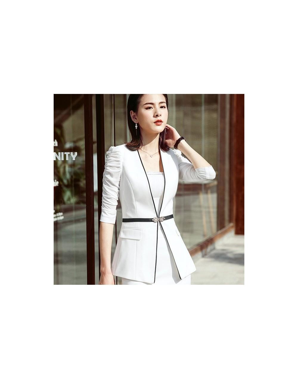 Fashion half sleeve women blazer OL New elegant plus size formal slim jackets office ladies black white work wear uniform - ...