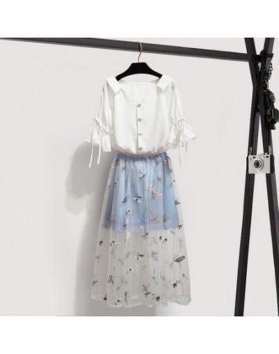 Women Sweet V-Neck Butterfly Sleeve Chiffon Blouse Shirt + Flower Embroidery Mesh Long Skirt Set 2019 Summer Girls 2 Piece S...