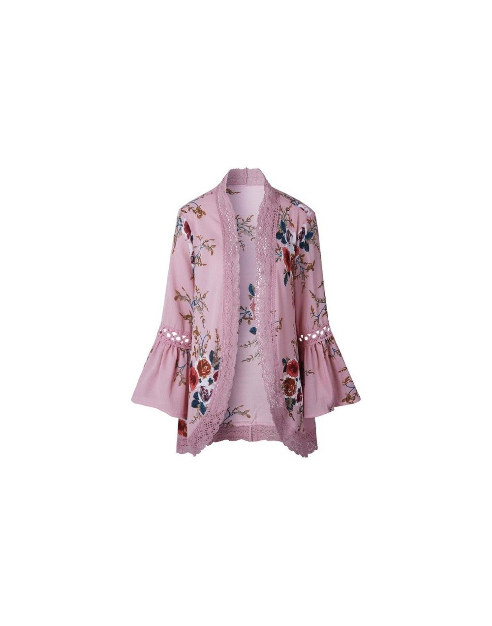 2019 Elegant Lace Floral Women Hollow Out Casual Cardigan Flare Sleeve Cardigan Print Tops Cover Up Blouses Beachwear - Pink...