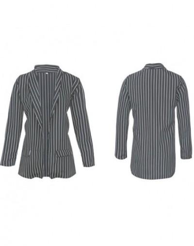 Spring Female Blazer Jacket Black White Striped Casual Suit Long Sleeve Women Jacket Blazer Autumn Cardigan Femme - Black - ...