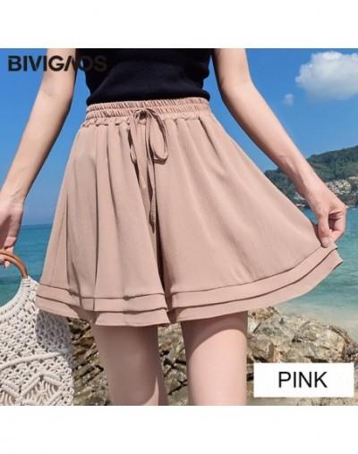 2019 New Summer Chiffon Shorts Korean Ladies Double Layer High Waist Wide Leg Shorts Casual Loose Skirt Short For Women - Pi...