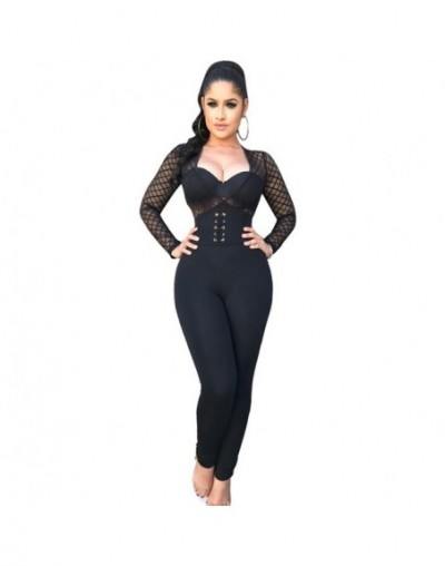 Sexy Mesh See Through Bodycon Jumpsuits Women Hollow Out Eyelets Bandage Bodysuits Playsuits Fashion Spring Autumn Streetwea...