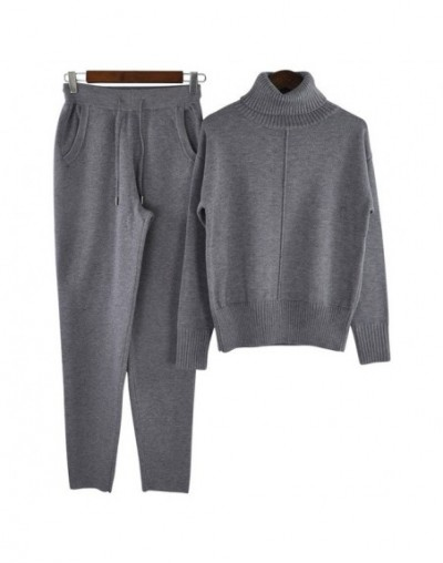 Woman Wool Knitted suit soft warm Winter Suit Female mid line pullover sweater & pant 2 piece set oversize - Dark Gray - 463...