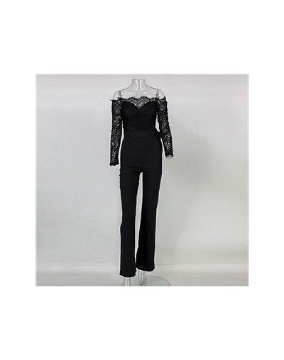 2019 Women Spring Lace Floral Solid Long Sleeve Jumpsuit Fashion Sexy Slash Neck Lace Patchwork Long-sleeved Belt Sexy Jumps...
