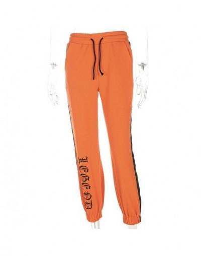 2018 New Women Letter Print Trousers Side Black Stripe Orange Pants Spring Autumn High Quality Casual Straight Capris - Oran...