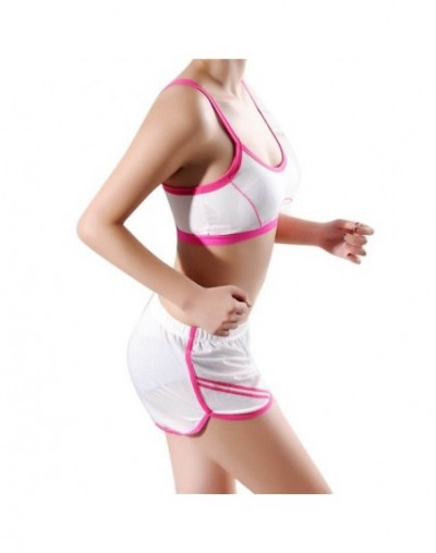 Woman Shorts Solid Pink Tracksuit For Women Summer Hot Shorts Contrast Binding Side Casual Shorts Feminino Beach - White - 4...