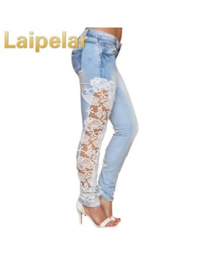 Women Fashion Side Lace Jeans Hollow Out Skinny Denim Jeans Woman Pencil Pants Patchwork Trousers for Women Ropa Mujer - Sky...