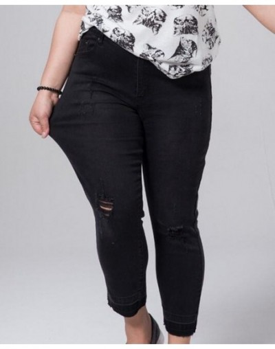 Women 2019 Stretch Pants Big Size Female Torn Trouser 5XL 6XL 7XL Ripped Jeans Woman Large Size Black Push Up Jeans - Black ...