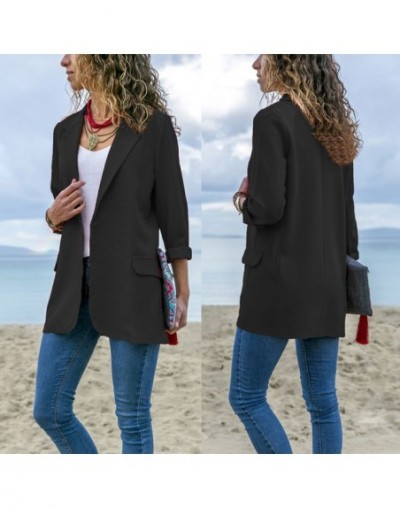 2019 New Fashion Womens Business Long Sleeve Suit Coat Party Blazer Regular Casual Jacket Slim Fitted Top Formal Casual - Bl...