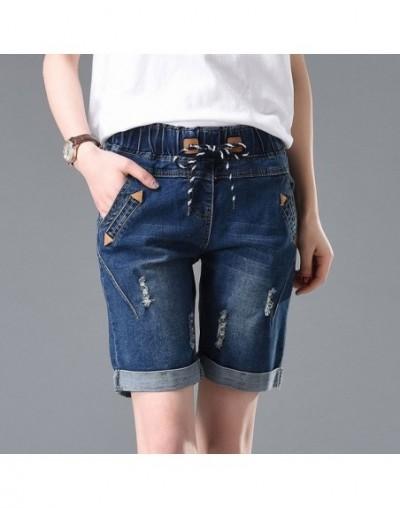 Stretch Straight Denim Shorts Hole Ripped Short Jeans Women Drawstring Waist Summer Women Shorts Plus Size Women Capris C320...
